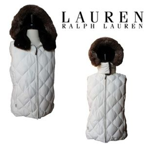 RALPH LAUREN DOWN FEATHERS PUFFER HOODED VEST